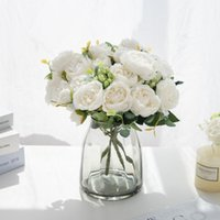 Decorative Flowers & Wreaths 4PCS Artificial Fake Peony Silk Roses Bridal Bouquet Christmas Decorations Vases For Home Garden Party Wedding