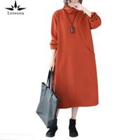 LEIOUNA SOLID PLUS Taille Office Dame 2021 Fashion Robe pour femmes Tibétatans Mince longueur Mid-longueur Automne et hiver Robes de chandail en vrac Casual