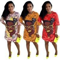Graffiti Head Sexy Women Fashion Print Dress Casual Loose Cartoon Dresses Short Sleeve Tshirt Skirts Party Night Club Clothes for summer G685QR9