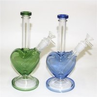 Glass Beaker Bongs hookah heart shape smoking Water Pipes Tobacco Oil Dab Rigs with downstem and bowl quartz banger dabber tool