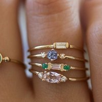 Cluster Rings Glamour Jewelry Elegant Women's Ring Set Accessories For Girls Party Engagement Wedding 4   Piece