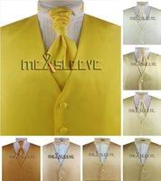 Conjunto de chaleco formal guapo guapo sólido (chaleco + ascot tie + pañuelo)
