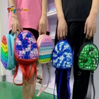 19CM Rainbow Tie Dye Fidget Backpack Bubble Toys Bag Push Bubbles Purses Kids Adult Sports Casual Shoulder Bags Handbag Tote Christmas Gift
