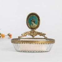 أطباق الصابون مصنوع يدويا النحاس الزجاج مجوهرات التجميل خزان خزان طبق الفرنسية الرجعية شخصية الإبداعية مربع الحمام الديكور