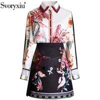 Два куска платье svoryxiu женская летняя взлетно-посадочная полоса юбка костюм с длинным рукавом алмазная печать блузка + мини модный офис леди набор 2021