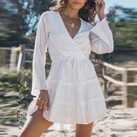 Kadın Elbiseler Şifon Elbise Kıvrımlar Bahar Yaz V Yaka Katı Renk Beyaz Zarif Uzun Kollu Elbise Retro Moda Mizaç