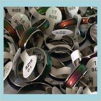 밴드 쥬얼리 100pcs 패션 분위기 반지 변경 색 반지 크기 16 17 18 19 20 스테인레스 스틸 드롭 배달 2021 M1FL