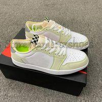 1 Düşük OG Beyaz Hayalet Yeşil Jumpman Spor Ayakkabı 1 S Glow Erkek Basketbol Sneakers Kadın Eğitmen Atletik Ayakkabı