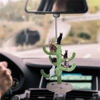 인테리어 자동차 귀여운 새끼 고양이 고양이 트레일러 다채로운 풍선 Rearview 거울 장식 펜던트