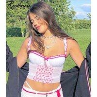 ROCKMORE MESH BACKWORK BONG SPAGHETTI Break Clibberry Print Camis Deep V-образным вырезом Сексуальная Летняя Урожай Бак Топы Повседневная Ночной клуб Party 210630