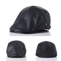 wholesale Retro Mens Leather Flat Ivy Cap Women Newsboy Gatsby Bonnet Cabbie Golf Beret Hat