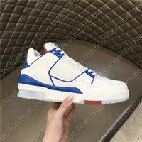 Теленка кожаные мужские туфли замшевые резиновые подошвы Sole Chaussures Azur Blue Denim Luxurys дизайнерский кроссовщик тренер повседневная обувь