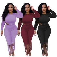 wholesale womens sportswear sexy tassel two piece set tracksuits outfits long sleeve trousers sweatsuit pullover tights legging suits klw7262