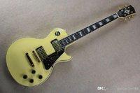 الجملة عالية الجودة خشب الأبنوس fretboard كبير headstock lp مخصص كريم الغيتار الكهربائي الأصفر @ 32