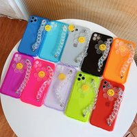 Neon Fluorescent Wrist Chain Phone Cases For iPhone 12 11Pro Max XR X XS Max 7 8 SE Cute 3D Sunflower Crystal Bracelet Soft Cover