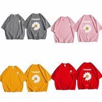 Zazomde хлопковая хип-хоп футболка 2020 летние круглые шеи свободные футболки цветы тройник рубашки хлопчатобумажные половины рукава стрит одежда футболка х0708
