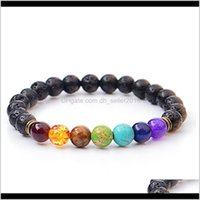 Beaded, Drop Delivery 2021 Energy Volcanic Bracelets 8Mm Natural Lava Volcano Amethyst Stone Chakra Colorful Beaded Strands Cuff Bangle Fashi