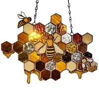 Dekorative Objekte Figuren Boneycomb Hängende Verzierung Exquisite DIY Multicolor Legierung Durable Verschleißfeste Wand Honig Suncatcher Decora