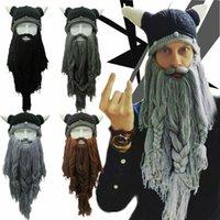Funny Crazy Halloween Cosplay Men Knit Viking Beard Horn Hat Ski Mask Cap Barbarian Vagabond Cool Beanie Winter Warm Unisex Hat