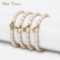 Charm Braceletes Wish Tarjeta Natural Pearl Pearl Pulsera Pulsera Blanca Perlas Moda Mujer Joyería Flor de cobre Arco iris