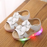 Toddler Girls Sandal Kids Shoes With Ligth Cute Bow Baby Girls Sandals Children Led Light up Princess Sandals Girls Size 21-30