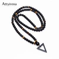 2018 New Design Long Necklac 8MM Tiger Stone Bead Black Men's Hematite Triangle Pendants Necklace Fashion Geometry Jewelry