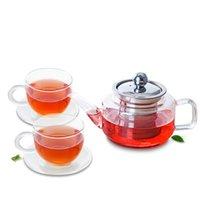 5 em 1 conjunto de chá - Bule de vidro claro resistente ao calor 335ml + 2 * 100ml xícaras + 2 * Pires