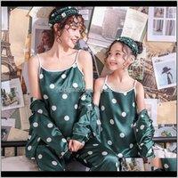 Kıyafetler Bebek Giyim Bebek, Annelik Bırak Teslimat 2021 Aile Pijama Set Eşleştirme Anne Kızı Pijama Kızlar Için İpek Baskı Dot Sleepw