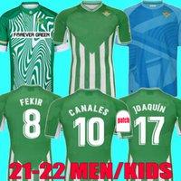 Real Betis Soccer Jerseys 2021 2022 Joaquin Loren Boudebouz Bartra A.Guardado 21 22 Canales التذكارية الطبعة Fekir الرجال Kids Kit حارس مرمى التدريب