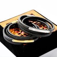 Bracelet en cuir de titane tressé multicouche Vintage Barcelette de la main pour hommes de corde noire