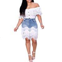 Neue Mode Frauen Damen Sommer Casual Denim Bag Hüftrock Hohe Taille Quaste Nähen Unregelmäßigen Rock Streetwear