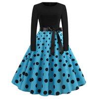 Casual Dresses Polka Dot Vintage Dress Women Winter Plus Size Swing Christmas Robe Femme Long Sleeve Elegant Black Party