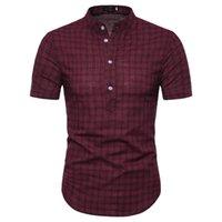 새로운 2020 망 짧은 소매 셔츠 칼라 코드 맨 레인과 짧은 소매 셔츠