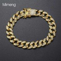 Hip hop Bracelet men's butterfly button hiphop gold plated diamond inlaid full Cuban braceletR53E