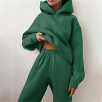 Women's Hoodies & Sweatshirts Tracksuit Suit Autumn Fashion Warm Hoodie Two Pieces Oversized Solid Casual Hoody Pullovers Long Pant Sets
