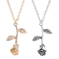 Pendant Necklaces Golden Silver Color Rose Necklace For Women Jewelry Alloy Choker Korean Fashion Vintage Aesthetic Girl Gift 2021 Trend