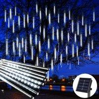LED Meteor Shower Light 8 Tubes Set Tree Rain Light Outdoor Waterproof for Garden Street Christmas Decoration Solar and Plug 30cm 50 cm 80cm