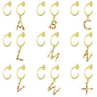 Boucles d'oreilles pendentif en argent sterling 925 pour femmes Crystal coloré Zircon alphabet Auto-bijoux Cadeaux de Noël 210412