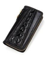Wallets Handmade Knitting Men Genuine Leather Card Holder Alligator Long Black Purses Clutch Vegetable Tanned Wallet1