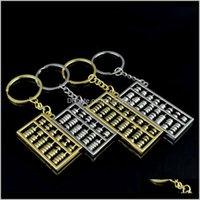 Gadgets al aire libre Llaveros 6 8 Archivos Metal Metal Chino Viento Gold Sier ABACUS Llavero Cadena Cadena Colgante Moda Accesorios Mopfm KKB9R