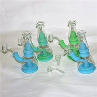 straight hookahs silicone bongs water bong oil rigs for smoking pipes with quartz banger nails 14mm male Glass Ash Catcher