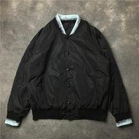 19SS 남자 리브 슬리브 바다 달 반사 높은 커플 야구 코트 재킷 추상 디지털 코트 모터 # E144 남자