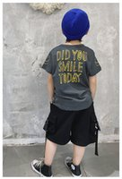 Boys' T-shirt summer 2021 grey smiley face trendy cotton middle school top comportable fashion