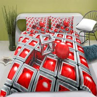 Bedding Sets 100% Polyester Abstract Cube Duvet Cover Digital Printing Set With Pillowcase Queen Bed