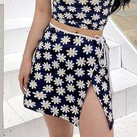 Ins Fashion Floral Print Ladies Set Sleeveless Crop Camisole&High Waist Mini Skirt Streetwear Women Cute Summer Suit Skirts