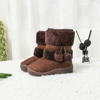 Jgshowkito chicas botas de invierno zapatos para niños de invierno algodón cálido peluche dentro de niños botas de nieve antideslizante pelota pelota colgante lindas botas