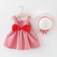Girl's Dresses Toddler Baby Girls Dress Cute Suspenders Mesh Princess For Girl Kids Beach Holiday Born Clothing With Hat