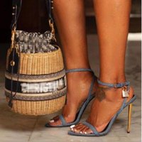 Sandals Plus Size 35-41 Women Sexy Pointed Toe Stiletto High Heels Buckle Metal Lock Wedding Dress Summer Shoes For 2021