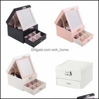 Boxes Bins Storage Housekee Organization Home & Gardenjewelry 2 Layer Large Mirror Leather Organizer Holder For Earring Ring Necklace Bracel