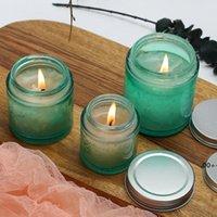 80 جرام 120 جرام 200 جرام الأخضر كبير الفم الزجاج جرة فارغة لرائحة الشموع diy اليدوية شمعة EWF6045